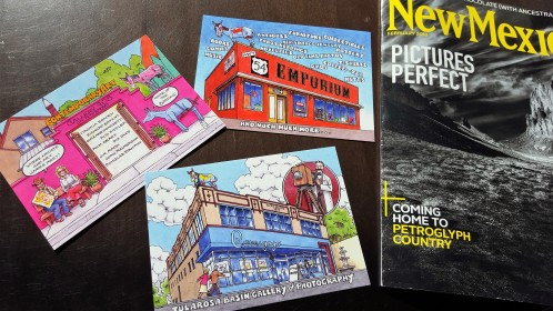 postcards and magazine